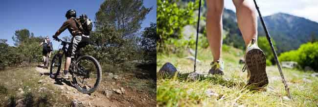 pratique de la randonnée et de vtt sur des chemins en ardeche